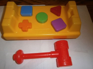 USED FISHER PRICE TAP N TURN Hammer Work Bench Shapes Color Toy