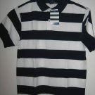 New LANDS' END Polo SHIRT TOPS Sz L Large 7 Stripes Boy Blue White