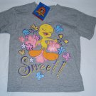 New Looney Tunes TWEETY BIRD Shirt Tops Gray Butterfly Size XS 4 5 Flowers