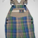 USED GYMBOREE Camping SHORTALL X-Small 18M 24M Stripes Green Plaid Hiking Boots