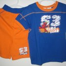New SESAME STREET ELMO Gear Shirt Shorts Set Size 5T Baseball Sports Blue Boy