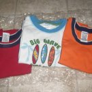 3 Used GYMBOREE SHIRT TOPS Tank 18M 24M 2T Surf Surfboard Red Blue Orange Boy Lot