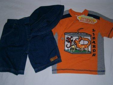 New DAKOTA KIDS Shirt Shorts Short Set Sz 3T Lizard Orange Hat
