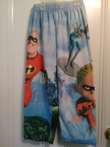 USED Disney Store THE INCREDIBLES Bottom PAJAMAS Dash SMALL 6 7 Blue Soft Fleece