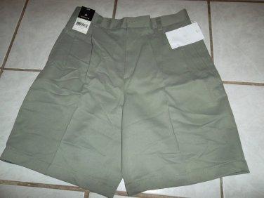 New CLAIRBORNE Dress SHORTS Men Sz 30 Off Grey Green