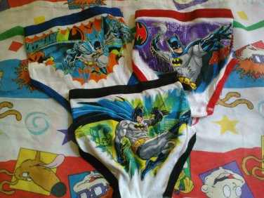 3 New NWOT Batman UNDERWEAR Briefs Sz 6 Boys Bat DC