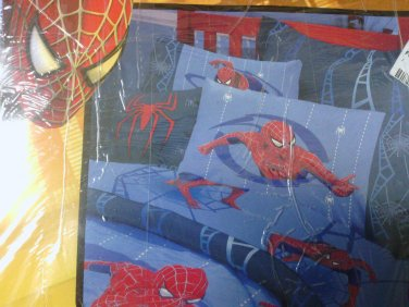 New SPIDERMAN FULL SHEET SET Sheet Spider Web Blue