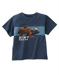 New GYMBOREE SHIRT Tops Sz 7 Construction Ahead TRUCK Boy Blue Dirt Mover
