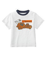 New GYMBOREE Construction Ahead Cement Truck SHIRT Top Sz 7 White Boy