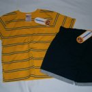 New KID CONNECTION Shirt Short Shorts SET Sz 4T Summer Stripes Yellow Blue