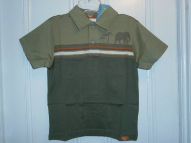 New GYMBOREE Safari Trek Polo Shirt Tops 5 Elephant Tree Olive
