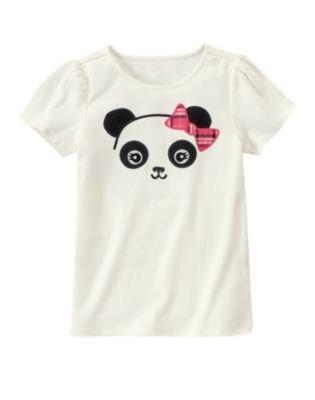 New GYMBOREE Sz 12 Panda Academy Head White Short Sleeves Girls SHIRT Blouse