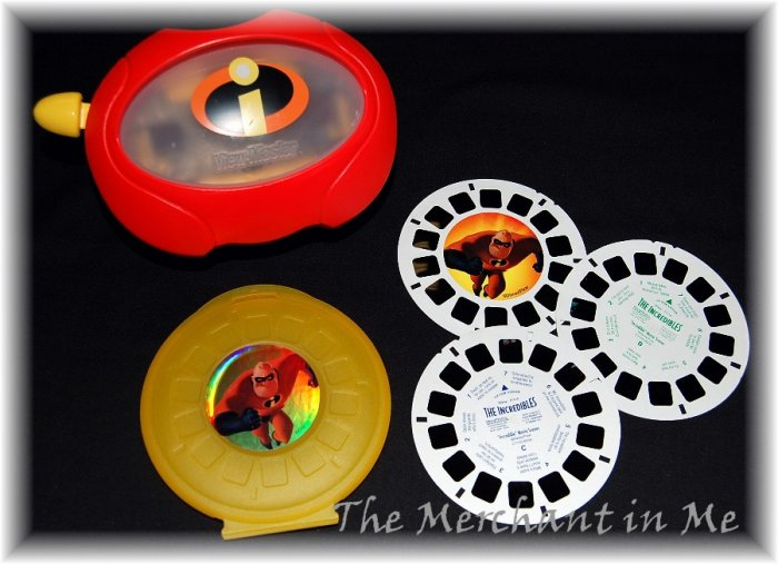 Disney INCREDIBLES Viewmaster SET 3 reels case SALE