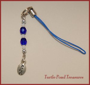 Blue White ANGEL beaded purse or Cell phone charm
