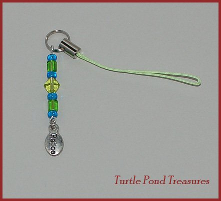 Green Blue PEACE beaded purse Cell phone charm