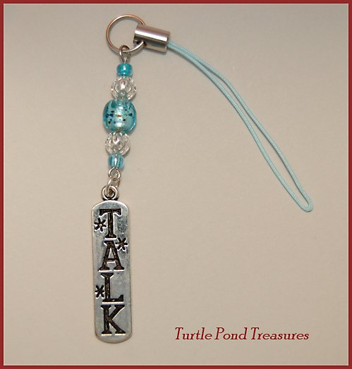 Aqua Blue silver TALK beaded Cell phone charm