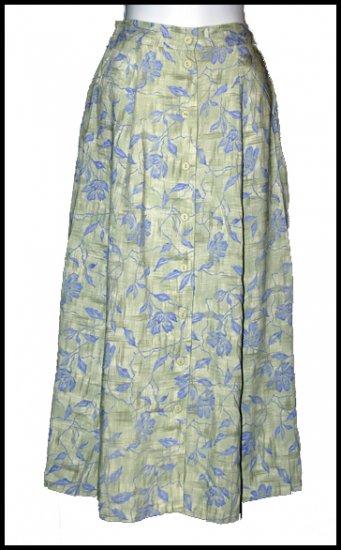 Green blue print Challis Skirt Petite Small S
