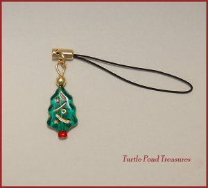 Green Christmas Tree Cell Phone Charm new