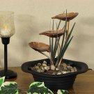 Sunnydaze Three Leaf Cascading Tabletop Fountain with LED Lights
