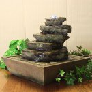 Cascading Rocks Tabletop Fountain w/ LED Lights by Sunnydaze Decor