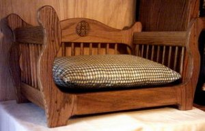 NEW SOLID WOOD OAK PET BED & CUSHION - CUSTOM HANDMADE