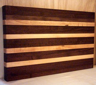 WALNUT AND MAPLE REVERSABLE CUTTING BOARD - EDGE GRAIN  - CUSTOM HANDCRAFTED