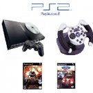 "PS2 Slim Sony Playstation 2 System ""Racing Bundle"" - 2 Games, 1 Wheel and more"