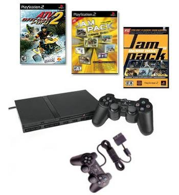 SONY Smaller, Slimmer and Network Ready PlayStation 2 System Family Value Bundle.