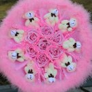 Teddy Bear Doll Cartoon Bouquet UK Sale Valentine's Day Wedding Birthdays Gift - Pink