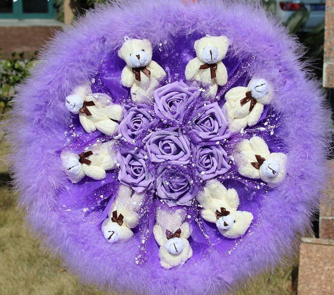 Teddy Bear Doll Cartoon Bouquet UK Sale Valentine's Day Wedding Birthdays Gift - Purple