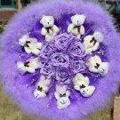 Teddy Bear Doll Cartoon Bouquet UK Sale Valentine's Day Wedding Birthdays Gift - Purple