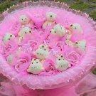 Wholesale 11 Teddy Bear Dolls 11 Roses Bouquet  Valentine's Day Wedding Birthdays Gift - Pink