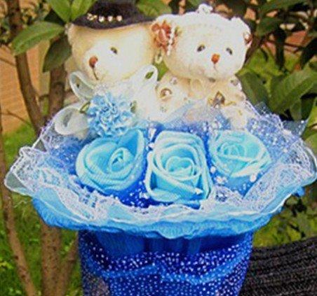 Wholesale Teddy Bear Dolls  Flowers Bouquet  Valentine's Day Wedding Birthdays Gift - Blue