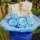 Wholesale Teddy Bear Dolls  Flowers Bouquet  Valentine's Day Wedding Birthdays Gift - Blue