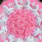 Romantic Gift Love Rabbit Doll Bouquet Valentine's Day Wedding Birthdays Gift - Pink