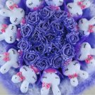Romantic Gift Love Rabbit Doll Bouquet Valentine's Day Wedding Birthdays Gift - Blue