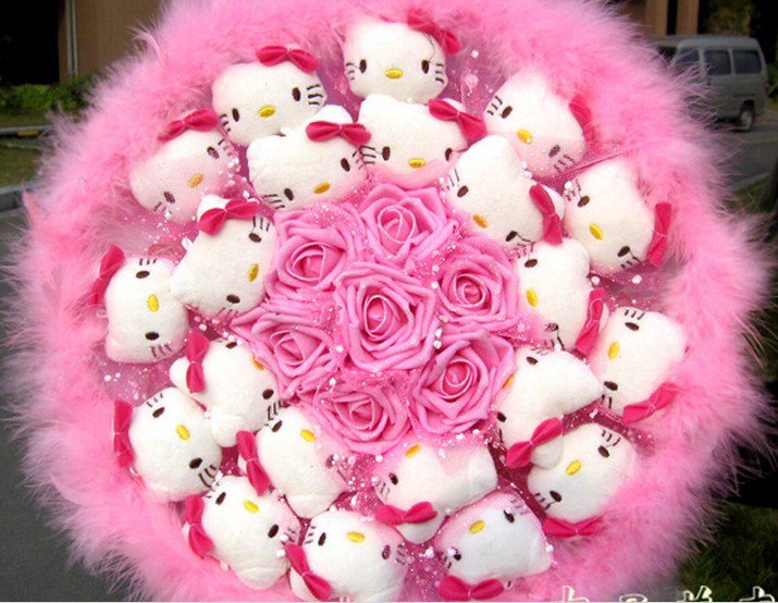 New Style Hello Kitty Bouquet Girls Birthday Gift Valentine Gift Wedding Gift - Pink