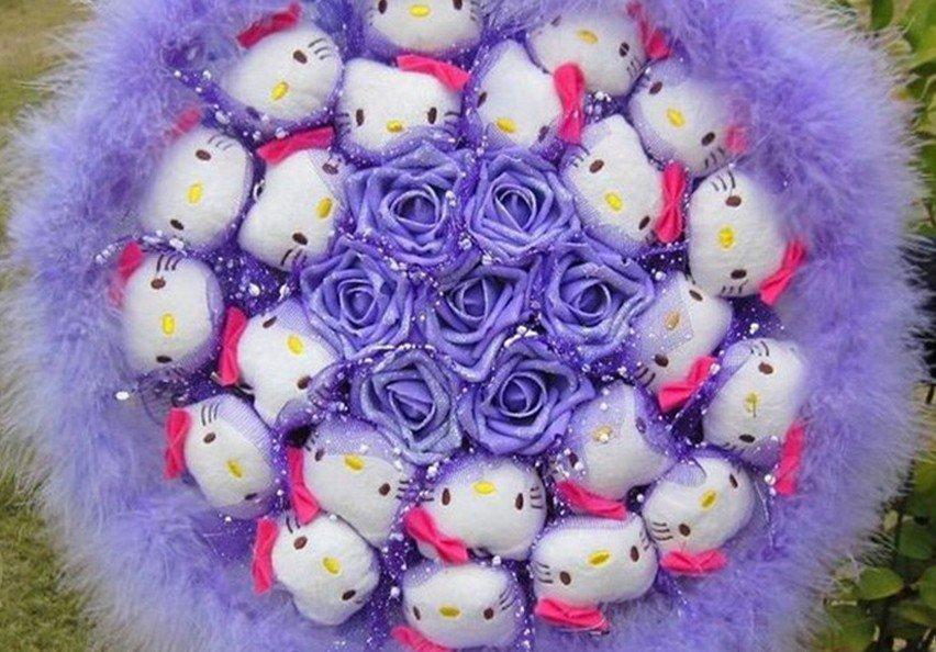 New Style Hello Kitty Bouquet Girls Birthday Gift Valentine Gift Wedding Gift - Purple