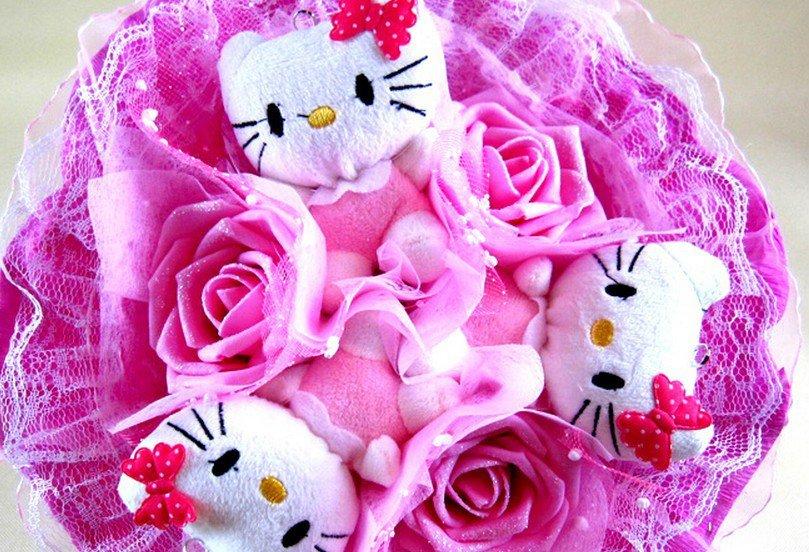 Lovely Hello Kitty Bouquet Birthday Gift Valentine Gift Wedding Gift - Pink