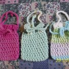 "(3) Hand-Knit 5"" x 3 1/2"" Jewelry or Small Items Drawstring Bags..Asst. Colors!"