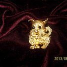 VINTAGE PUPPY DOG GOLD-TONE PIN/BROOCH!  CUTE!  FREE SHIP!