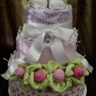 Baby Girl Diaper Cake (White) with roses and bow