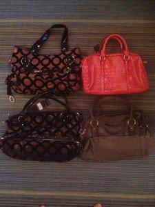 B & G Fashion Designer 4 Handbag  Lot Pink Grey Blue Gold