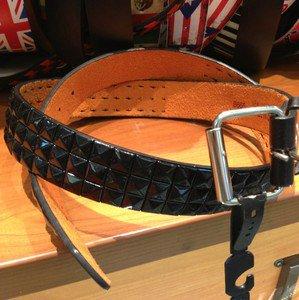 Black Leather Studded Belt Spike 3Row Pyramid Snap On Belt Silver Buckle  XL