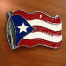 Pewter Belt Buckle National Flag of Puerto Rico NEW