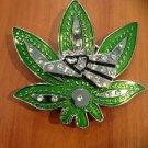 Belt Buckle Weed Pot Leaf Marijuana Eagle Spin With Stones