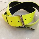 "Neon Yellow Leather Belt Mens/Womens Sz XL 42""-44"""