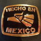 HECHO EN MEXICO BELT BUCKLE BLACK-GOLD MADE IN MEXICO METAL