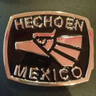 HECHO EN MEXICO BELT BUCKLE BLACK-SILVER MADE IN MEXICO METAL