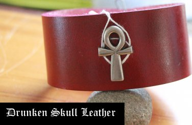 Deep red leather cuff with Ankh concho